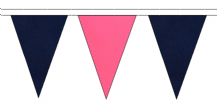 NAVY BLUE AND PINK TRIANGULAR BUNTING - 10m / 20m / 50m LENGTHS